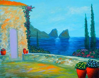 Poster featuring the painting Capri Colors by Larry Cirigliano