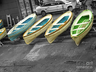 Capri Italy Aqua Green Boats Poster