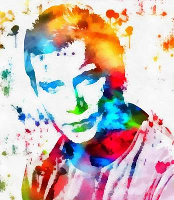 Captain Kirk Watercolor Paint Splatter Poster by Dan Sproul