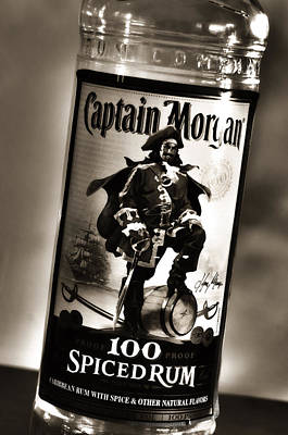 Captain Morgan Black And White Poster by Janie Johnson