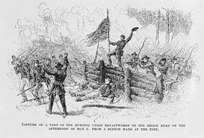 Capture Of A Part Of The Burning Union Breastworks On The Brock Road On The Afternoon Of May 6th Poster by Alfred R. Waud
