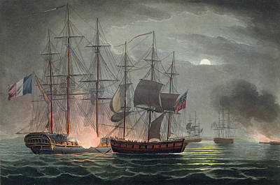 Capture Of La Desiree Poster by Thomas Whitcombe