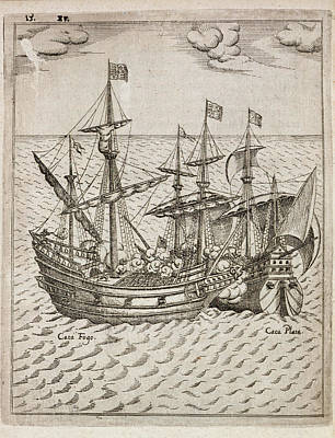 Capture Of The The Spanish Galleon Poster by British Library