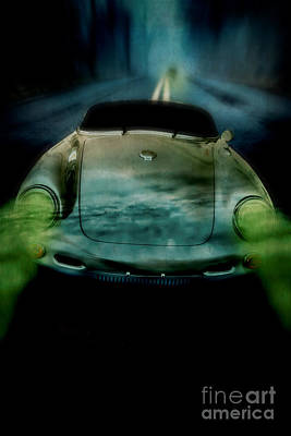 Car Chase At Night Poster by Edward Fielding
