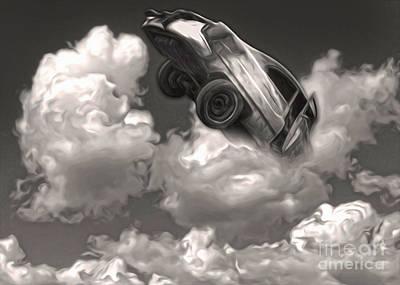 Poster featuring the painting Car Crash In The Clouds by Gregory Dyer