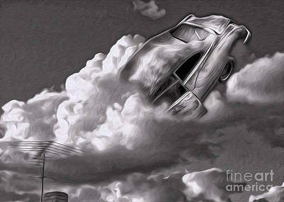 Poster featuring the painting Car Crash In The Clouds - Number 2 by Gregory Dyer