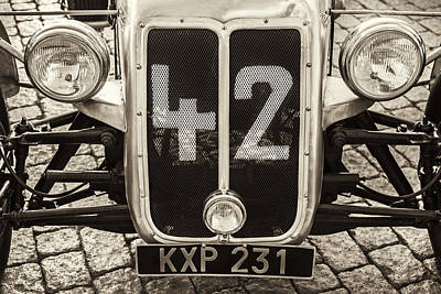 Car Number 42 Bw Poster