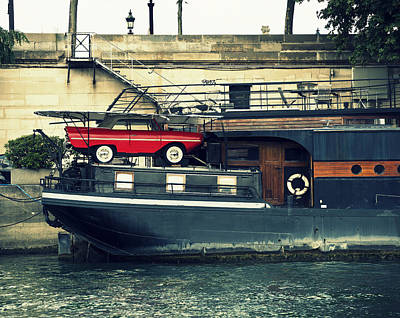 Car On A Boat Poster