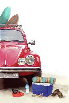Car On Beach Poster