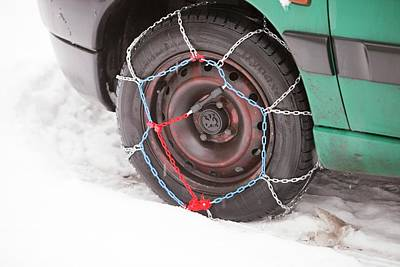 Car With Snow Chains Poster by Ashley Cooper