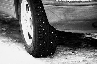 Car With Studded Winter Tyres Parked On Ice In Kirkenes Finnmark Norway Europe Poster