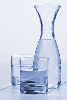 Carafe Of Water And Two Glasses Poster