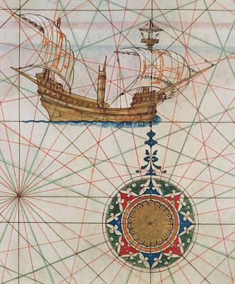 Caravel In Ocean Poster
