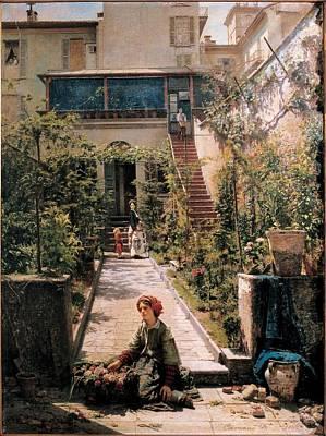 Carcano Filippo, The Flower-seller Poster by Everett