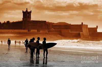 Carcavelos Surfers Poster by Carlos Caetano