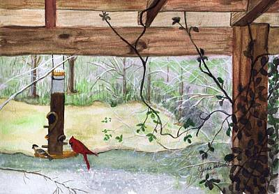 Cardinal-back Porch Picnic Poster by June Holwell