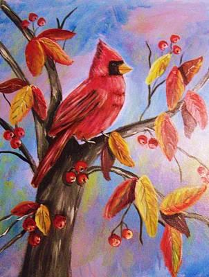 Cardinal In Fall Poster