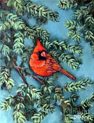 Cardinal In Spruce Poster by Inese Poga