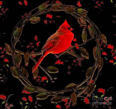 Cardinal On Metal Wreath Poster