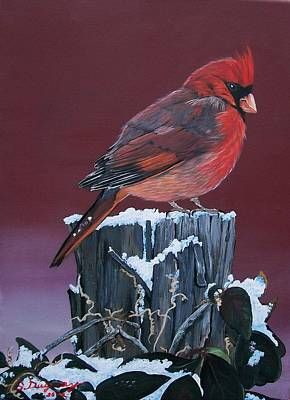 Cardinal Winter Songbird Poster