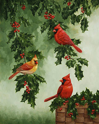 Cardinals And Holly - Version Without Snow Poster by Crista Forest