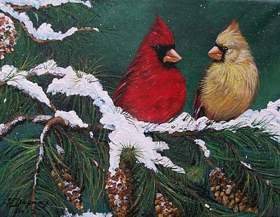 Cardinals In The Snow Poster by Sharon Duguay