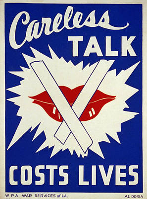Careless Talk Costs Lives Poster by Bill Cannon