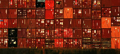 Cargo Containers Port Of Seattle Poster by David Gilbert