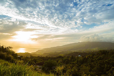 Caribbean Dream - Martinique Sunset Over Mount Pelee Poster