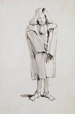 Caricature Of A Man Wearing An Overcoat Giovanni Battista Poster by Litz Collection
