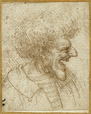 Caricature Of A Man With Bushy Hair Leonardo Da Vinci Poster