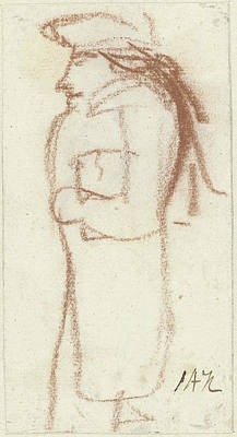 Caricature Of Standing Man, Left, Seen From The Side Poster