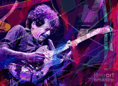 Carlos Santana Bends Poster by David Lloyd Glover