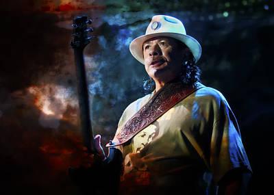 Carlos Santana On Guitar 1 Poster by Jennifer Rondinelli Reilly - Fine Art Photography