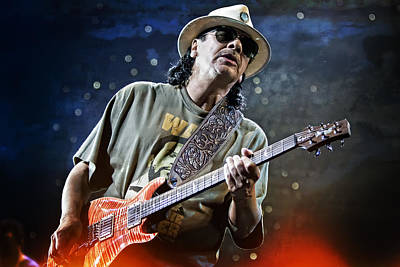 Carlos Santana On Guitar 2 Poster by Jennifer Rondinelli Reilly - Fine Art Photography