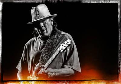 Carlos Santana On Guitar 5 Poster by Jennifer Rondinelli Reilly - Fine Art Photography