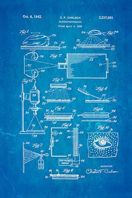 Carlson Electrophotography Xerography Patent Art 1942 Blueprint Poster