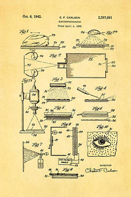 Carlson Electrophotography Xerography Patent Art 1942 Poster