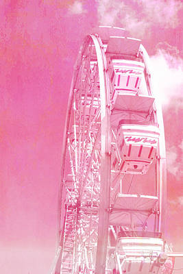 Carnival Festival Baby Pink Ferris Wheel - Hot Pink Carnival Festival Ferris Wheel White Clouds Poster by Kathy Fornal