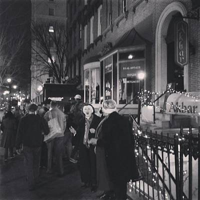 Poster featuring the photograph Carolers On North Charles Street December 2013 by Toni Martsoukos