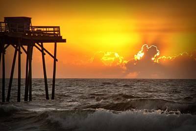 Carolina Beach Fishing Pier Sunrise Poster