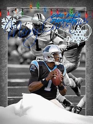 Carolina Panthers Christmas Card Poster by Joe Hamilton