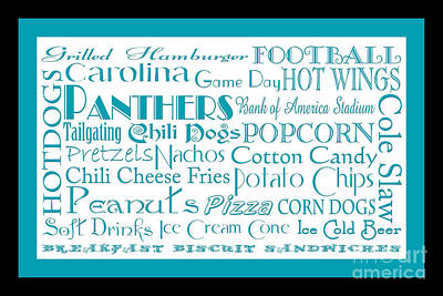 Carolina Panthers Game Day Food 2 Poster by Andee Design