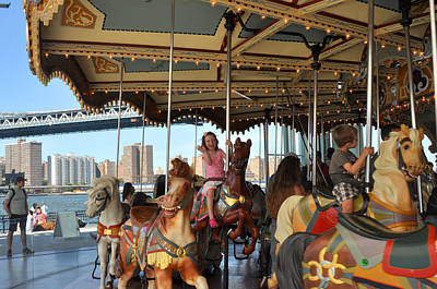 Carousel Brooklyn Bridge Park Poster by Diane Lent