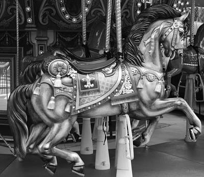 Carousel Horse In Black And White Poster by Rob Hans
