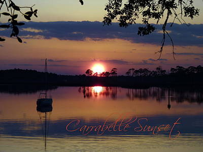 Carrabelle Sunset Scene With Title Poster by Carla Parris