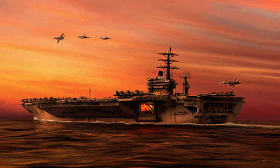Carrier Ops At Dusk Poster by Dale Jackson