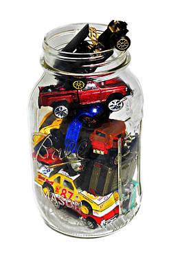 Cars In A Jar Poster by Susan Leggett