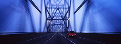 Cars On A Suspension Bridge, Bay Poster