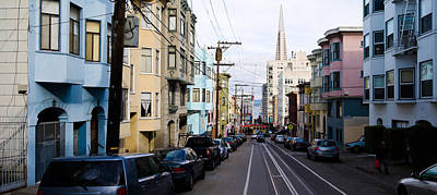 Cars Parked On The Street, Transamerica Poster by Panoramic Images